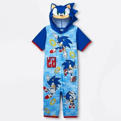£21.40 • Buy Sonic The Hedgehog Pajamas Boy Hoodie Union Suit One Piece Costume Size XS-L NWT