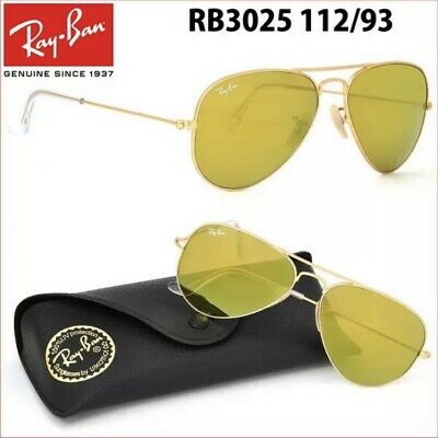 £69.99 • Buy Ray-ban Sunglasses Aviator Rb3025 112/19-green Mirror Lens/gold Frame-fast Post
