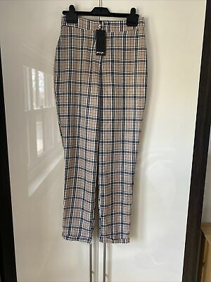 £4.95 • Buy Nasty Gal Checked Tapered Trousers Beige Size 10