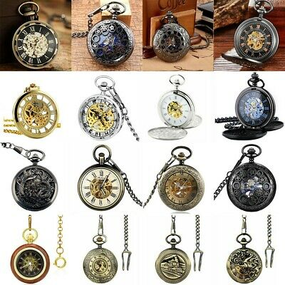 £14.99 • Buy Vintage Pocket Watch Double Hunter Open Face Bronze Mechanical Watch &Chain Gift
