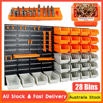 AU42.03 • Buy Wall Mounted Bins Rack Storage Parts Organiser Tool Holder Tray Boxes With Board
