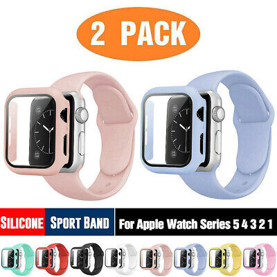 AU14.99 • Buy 2-Pack Silicone IWatch Band Strap + Case Fit Apple Watch 2 3 4 5 6 SE 40 42 Mm