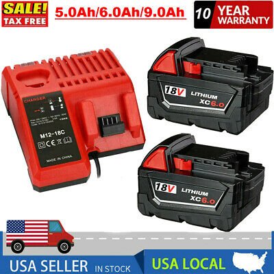 $25.99 • Buy For Milwaukee M18 XC 5.0/6.0 AH Extended Lithium Battery 48-11-1860 Fast Charger