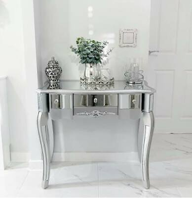 £107 • Buy Silver Mirrored Dressing Table With Drawers Venetian Glass Bedroom Hallway Chic