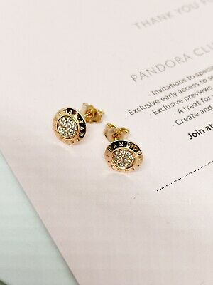 AU49 • Buy Genuine Rose Gold Sparkling Stud Pandora Logo Earrings In Excellent Condition