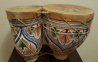 £105.77 • Buy Vintage Moroccan Bongo Drums-Hand Painted Terracotta-Tight Skins