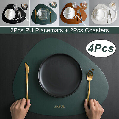AU14.92 • Buy Kitchen Place Mats Coasters Dining Table Placemats PU Leather Non-Slip Washable
