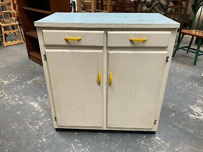£69.99 • Buy Vintage 1950's 1960's White Painted Kitchen Unit Cabinet Cupboard Formica Top
