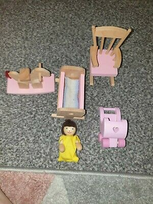 £7 • Buy Early Learning Centre Wooden Dolls House Furniture Bundle B Nursery