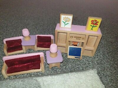 £11 • Buy Early Learning Centre Wooden Dolls House Furniture Bundle E Living Room