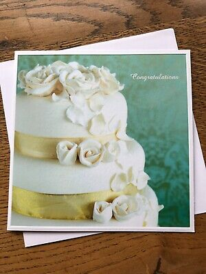 £2.25 • Buy Wedding Day Congratulations Card Cake Flowers Fiona Cairns Royal  (T814)