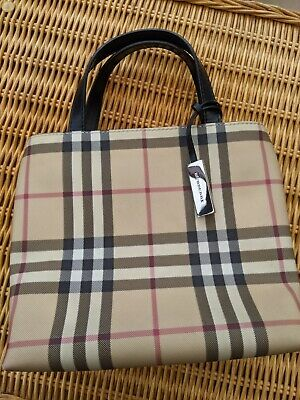 £125 • Buy Burberry Authentic Nova Check Small Tote Bag With Dust Bag