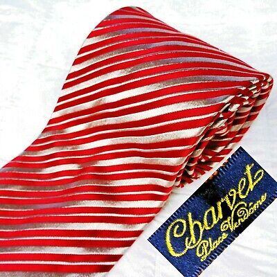 £28.31 • Buy CHARVET Made In France Silk Mens Tie Necktie Glossy Red + Woven Tan Stripes