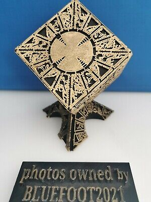 £30 • Buy Solid Hellraiser Black & Gold Lament Configuration Puzzle Box + Deluxe Stand