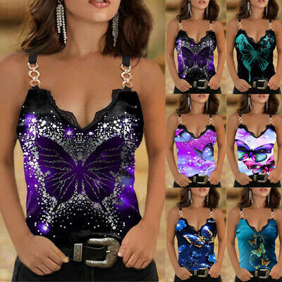 £7.99 • Buy Womens Summer Strappy Cami Tops Vest Ladies Butterfly Print Tank T Shirt Blouse
