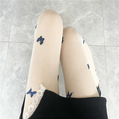 £6.19 • Buy Women Pantyhose Butterfly Printed Sexy Sheer Thin Long Stockings Tights Summer