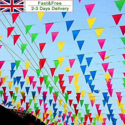 £7.69 • Buy 100M Triangle Flags Bunting Banner Pennant Festival Wedding Party Garden Decor