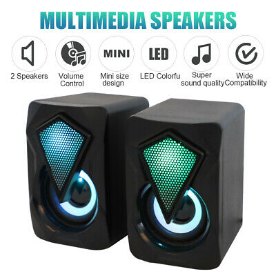 £5.99 • Buy Surround Sound System LED Speakers Gaming Bass USB Wired For Desktop Computer PC