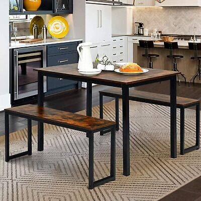 £99.99 • Buy Industrial Retro Solid Wooden Dining Table And 2 Chairs Set Kitchen Metal Frame