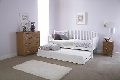 £448.99 • Buy 3ft Madrid White Wooden Day Bed And Trundle Set