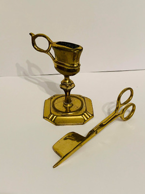 £39.99 • Buy Victorian Brass Candle Snuffer And Holder Stand - Antique Brass