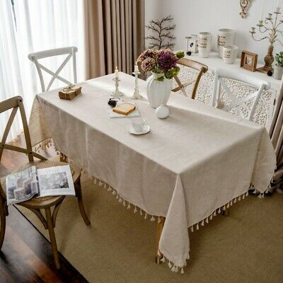 AU25.36 • Buy Linen Tablecloth Tassel Rectangle Dining Table Cover Washable Home Kitchen Decor
