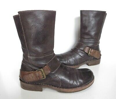 £44.50 • Buy Ladies FLY LONDON Brown Leather Biker Style Ankle Boots Size UK 4 Great Cond