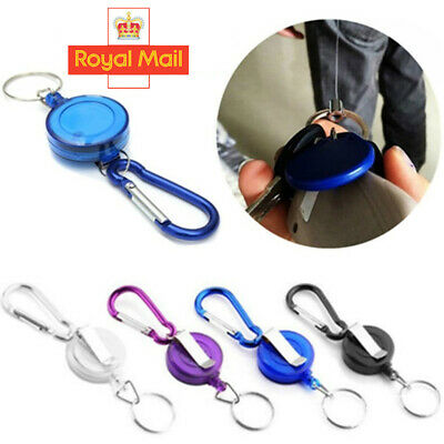 £2.99 • Buy 2PCS Stainless Pull Ring Retractable Key Chain Recoil Keyring Heavy Duty Steel