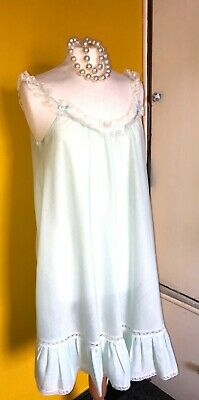 £3.99 • Buy Retro Vintage St Michael's Baby Doll Frilly Night Dress Mint Green Fit Bust 34in