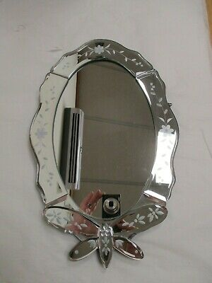 £7.50 • Buy Past Times Butterfly Oval Mirror With Etched Floral Mirror Frame A2