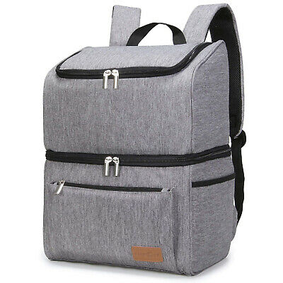 $ CDN58.91 • Buy 18L (34-Can) Camping Lunch Travel Picnic Double-Decker Thermal Cooler Backpack