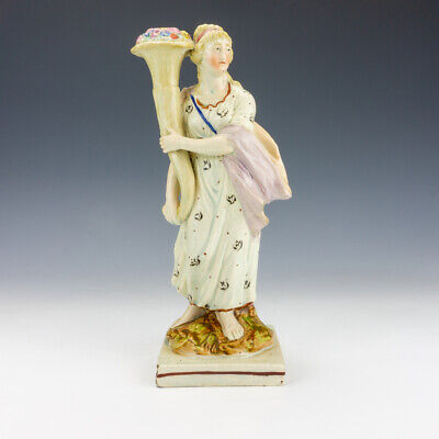 £6.50 • Buy Antique Staffordshire Pottery - Pearlware Lady With Flower Cornucopia Figure