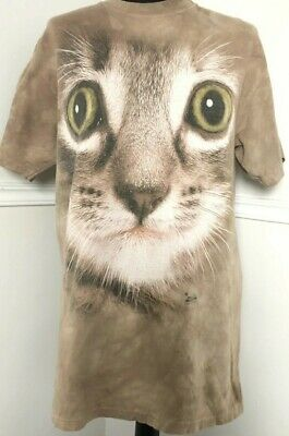 £9 • Buy Retro Cat Lovers Tie Dye T-shirt Fawn Colour Cat Face Size Med