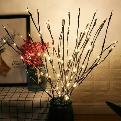 £4.39 • Buy 20 LED Branch Twig Lights Light Up Willow Tree Branches Xmas Decor Battery Power