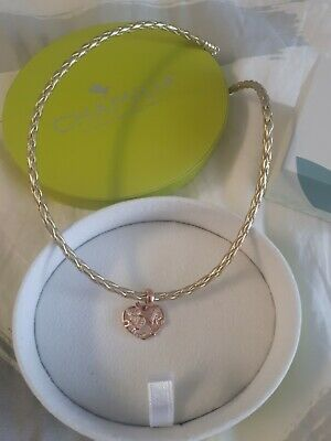 £49 • Buy Chamilia Leather Chocker Necklace And Cupid Heart Charm