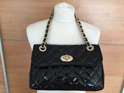 £50 • Buy Russell And Bromley Quilted Black Patent Chain Handle Bag