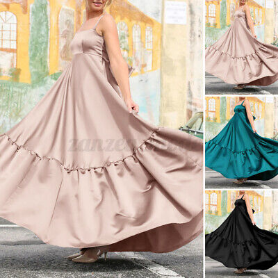 £9.99 • Buy Women Evening Silky Dress Party Bridesmaid Maxi Sundress Prom Cocktail Long Gown