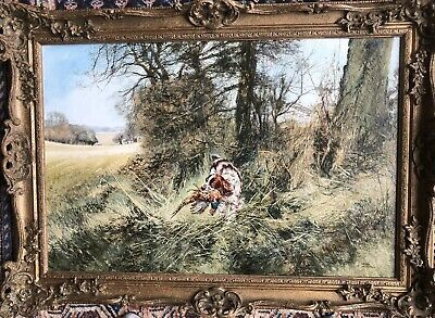 £695 • Buy HENRY WILKINSON, Large Oil Painting -  Spaniel With A Pheasant In A Landscape