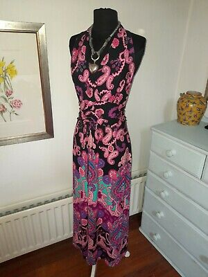 £6.19 • Buy Lovely PHASE EIGHT Bright Paisley Floral Stretch Viscose Long Maxi Dress UK  14