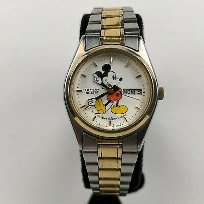 $ CDN29.14 • Buy Rare Vintage Seiko Disney Mickey Mouse Day/Date Silver/Gold Watch 3Y03-0039