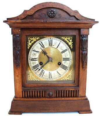 £16.52 • Buy Large Vintage Wooden Wind Up CLOCK W/ Key FOR PARTS/REPAIRS  - C44
