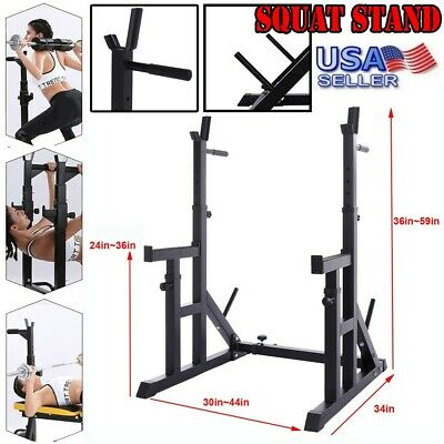 $ CDN170.02 • Buy Adjustable Squat Rack Bench Press Weight Rack Barbell Stand Chin Pull Up Bar Gym