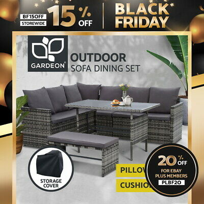 AU794.95 • Buy Gardeon Outdoor Dining Set Sofa Lounge Setting Chairs Table Bench W/ Cover Grey