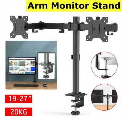 £17.99 • Buy 10 - 27  Double Dual Display Computer Screen Monitor Arm Mount Desk Stand LED UK
