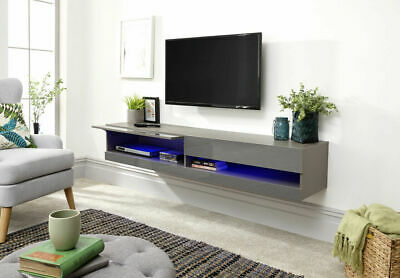 £169.99 • Buy Galicia Wall Mounted Grey, White, Black Gloss TV Unit With LED 120cm 150cm 180cm