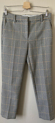 £12 • Buy H&m Trousers, Cream & Black Dogtooth Check, Capri, Cropped, Straight, Uk 10