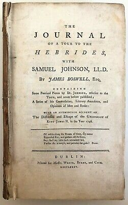 £4.99 • Buy 1785 Boswell TOUR TO THE HEBRIDES Samuel Johnson Journal Travel Poetry History