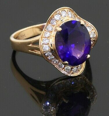 £111.86 • Buy Heavy 14K Yellow Gold 3.68CT Diamond & Amethyst Cocktail Ring Size 7.25