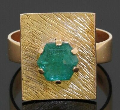 £153.99 • Buy Vintage 18K Gold 1.50CT Hexagon Cut Emerald Solitaire Cocktail Ring Size 8.75