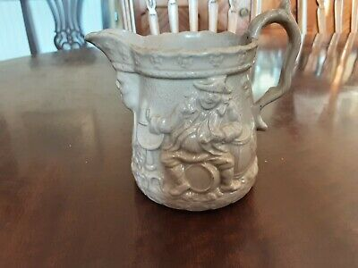 £7 • Buy Antique Victorian Relief Moulded Drab Ware Pottery Small Jug